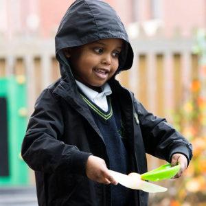 Boy in raincoat