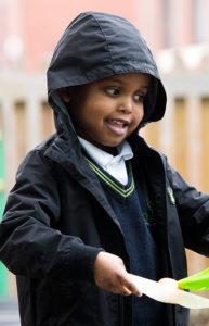 Boy wearing raincoat