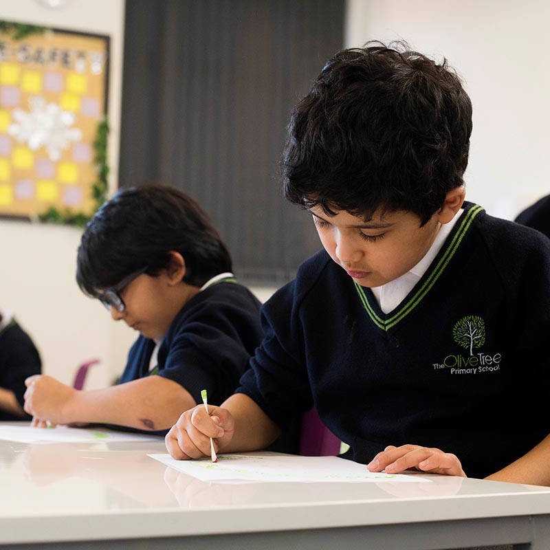 Pupils writing in class