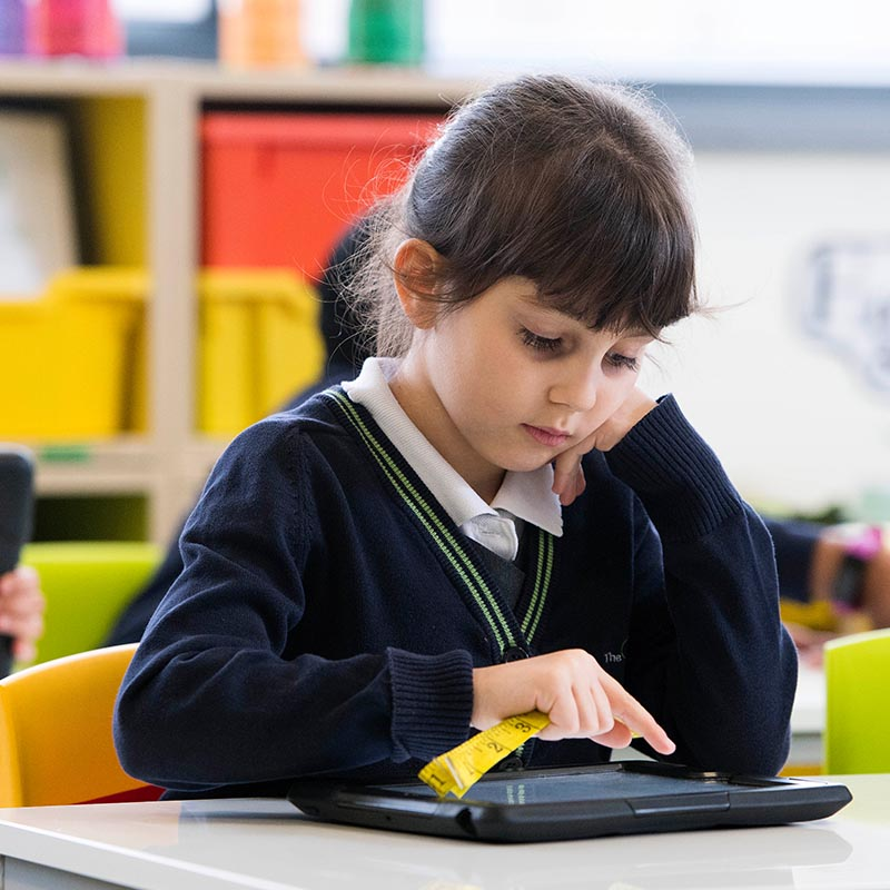 Girl working on iPad