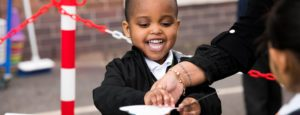 Boy smiling in playground
